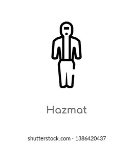 outline hazmat vector icon. isolated black simple line element illustration from fashion concept. editable vector stroke hazmat icon on white background