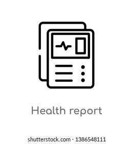 outline health report vector icon. isolated black simple line element illustration from dentist concept. editable vector stroke health report icon on white background