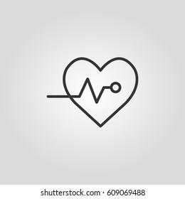 Outline heart impulse  web icon