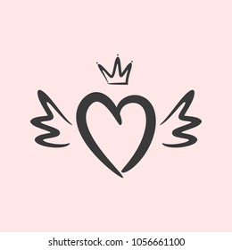 Outline of heart with wings and crown. Drawn by hand, sketch, doodle. Cute vector illustration.