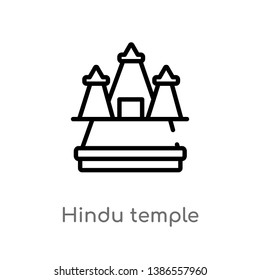 outline hindu temple vector icon. isolated black simple line element illustration from buildings concept. editable vector stroke hindu temple icon on white background