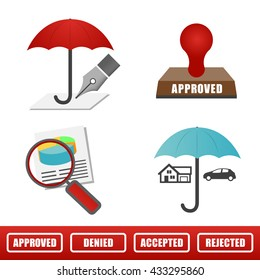 Outline Home and Auto Insurance Icons Isolated on a solid Background