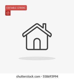 Outline Home Icon isolated on grey background. House pictogram. Line Homepage symbol for your web site design, logo, app, UI. Editable stroke. Vector illustration, Eps10