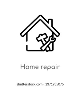outline home repair vector icon. isolated black simple line element illustration from construction concept. editable vector stroke home repair icon on white background