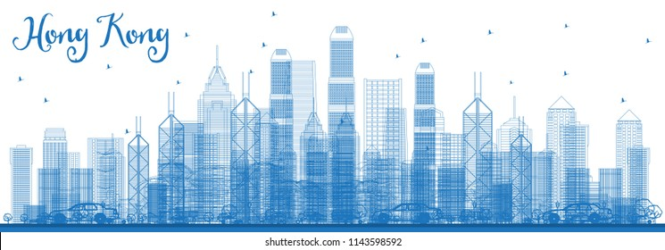 Outline Hong Kong China Skyline with Blue Buildings. Vector Illustration. Business Travel and Tourism Concept with Modern Architecture. Hong Kong Cityscape with Landmarks.