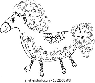 Outline horse vector illustration. Doodle outline horse with floral elements on white background. Floral ornament. Vector design. Portrait animal. Unicorn head silhouette. Drawing flowers