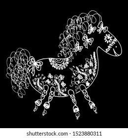 Outline horse vector illustration. Doodle outline horse with floral elements on black background. Floral ornament. Vector design. Portrait animal. Unicorn head silhouette. Drawing flowers