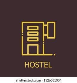 Outline hostel vector icon. Hostel illustration for web, mobile apps, design. Hostel vector symbol.