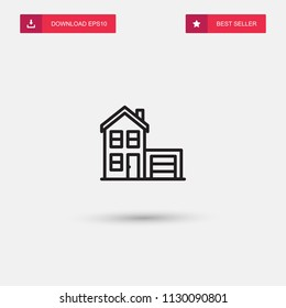 Outline House With Garage Icon isolated on grey background. Modern simple flat symbol for web site design, logo, app, UI. Editable stroke. Vector illustration. Eps10