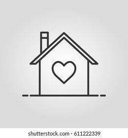Outline house in heart  web icon ilustration vector symbol