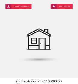 Outline House With Hearth Icon isolated on grey background. Modern simple flat symbol for web site design, logo, app, UI. Editable stroke. Vector illustration. Eps10