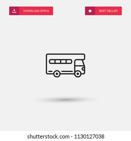 Outline House On Wheels Icon isolated on grey background. Modern simple flat symbol for web site design, logo, app, UI. Editable stroke. Vector illustration. Eps10