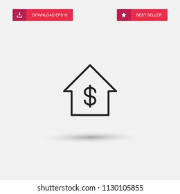 Outline House Price Icon isolated on grey background. Modern simple flat symbol for web site design, logo, app, UI. Editable stroke. Vector illustration. Eps10
