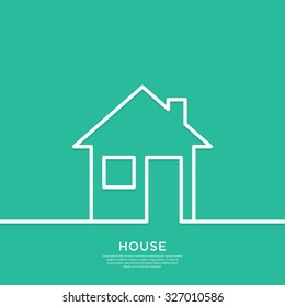 Outline house. Sign for business card of realtor agency. Minimal abstract background for advertising, report, sales, internet site. Vector illustration.