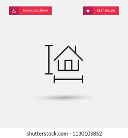 Outline House Size Icon isolated on grey background. Modern simple flat symbol for web site design, logo, app, UI. Editable stroke. Vector illustration. Eps10