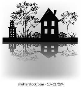 Outline of houses and plants