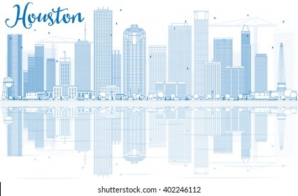 Outline Houston Skyline with Blue Buildings and Reflections. Vector Illustration. Business Travel and Tourism Concept with Modern Buildings. Image for Presentation Banner Placard and Web Site.