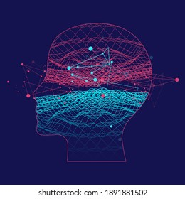 Outline of a human head with an abstract wave. Plexus effect.
