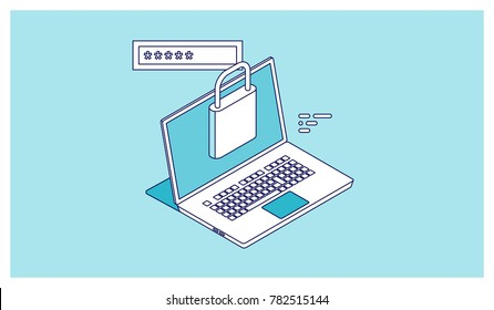 Outline icon of access user account, authorization login with password, laptop and lock - data security isometric vector illustration