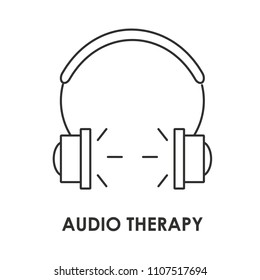 Outline icon of audio therapy. Can be used for web sites, articles or ASMR.