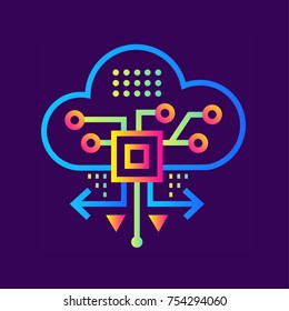 Outline icon Cloud based architecture. Data science technology and machine learning process. Suitable for print, website and presentation