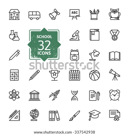 Outline icon collection School