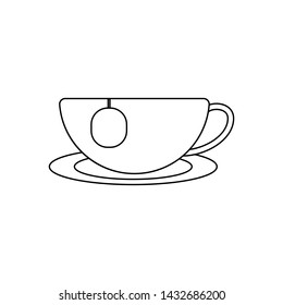 Outline icon cup of tea. Isolated on white background. Consept tea simple symbol. Vector illustration