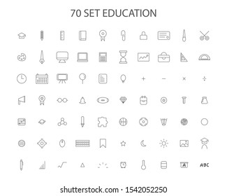Outline icon education vector set