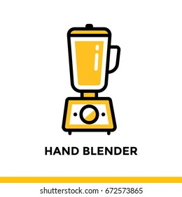 Outline icon HAND BLENDER of bakery, cooking. Vector line icons suitable for info graphics, print media and interfaces
