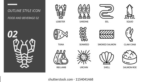 Outline icon pack for food and beverage, lobster, sardine, eel, squid, tuna, seaweed, smoked salmon, claw crab, rib lamb, urchin, shell, salmon roe.