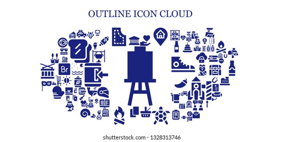 outline icon set. 93 filled outline icons.  Collection Of - Canvas, Pantheon, Car, Pattern, Hand, Location, Picnic, Turtle, Cards, Bonfire, Mask, Reed, Hannya, Collar, Piano, Milkshake