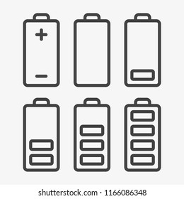 Outline Icon set of battery charge level indicators. Line collection. Editable stroke. Vector illustration. Eps10.