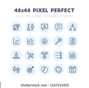 Outline Icon Set of Business Management Vector. Editable 2 Pixel Stroke Weight. 48x48 Pixel Perfect Icon for Website Mobile App Presentation