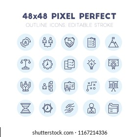 Outline Icon Set of Business Management and Strategy Vector. Editable 2 Pixel Stroke Weight. 48x48 Pixel Perfect Icon for Website Mobile App Presentation