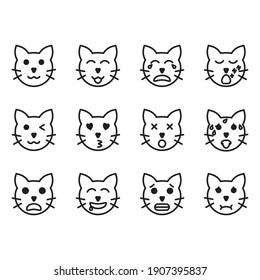 outline icon set cat, vector illustration, animal cat face emoticon symbol