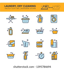Outline icon set of clothes, towels, cleanig chemistry. Background for laundry, dry cleaning, housekeeping services. Flat vector design. Modern graphic design. Home appliance. House laundry.