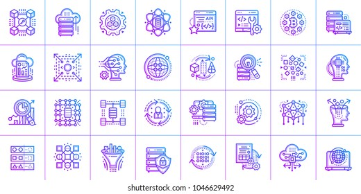 Outline icon set of Data science technology and machine learning process. Material design icon suitable for print, website and presentation