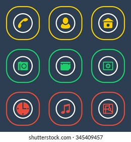 Outline icon set of web elements