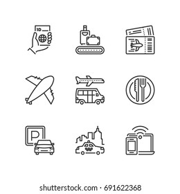 Outline icons about airport.