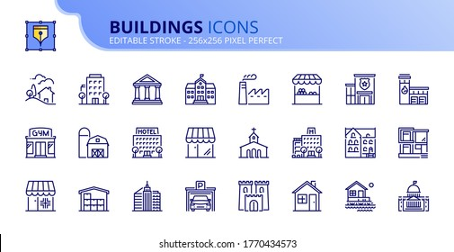 Outline icons about buildings. Architecture. Contains such icons as modern and classical house, school, store, bank, police, fire station, hospital. Editable stroke Vector 256x256 pixel perfect