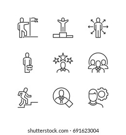 Outline icons about business people. Success.