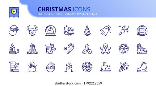 Outline icons about Christmas. Holidays events. Contains such icons as Santa, snowman, Christmas tree, wish list, decoration, and gifts. Editable stroke Vector 256x256 pixel perfect