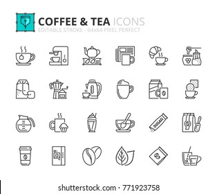 Outline icons about coffee and tea. Editable stroke. 64x64 pixel perfect.