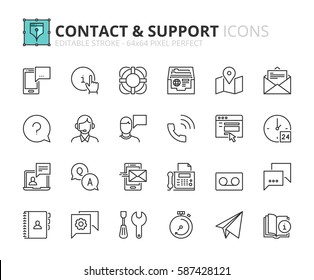 Outline icons about contact and support. Editable stroke. 64x64 pixel perfect.