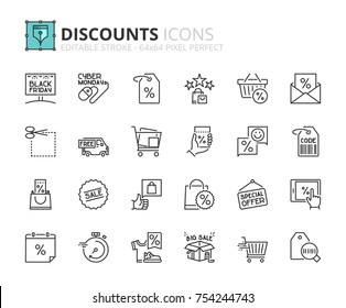 Outline icons about discounts. Editable stroke. 64x64 pixel perfect.