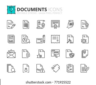 Outline icons about documents. Editable stroke. 64x64 pixel perfect.