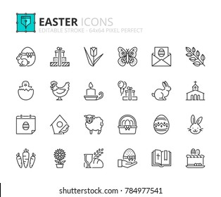 Outline icons about Easter. Editable stroke. 64x64 pixel perfect.