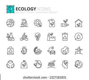 Outline icons about ecology. Editable stroke. 64x64 pixel perfect.
