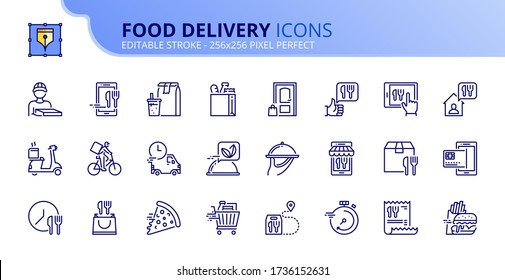 Outline icons about food delivery. Contains such icons as delivery man, fast food, grocery, fast delivery and order tracking.  Editable stroke. Vector - 256x256 pixel perfect.