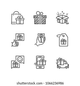 Outline icons about gift